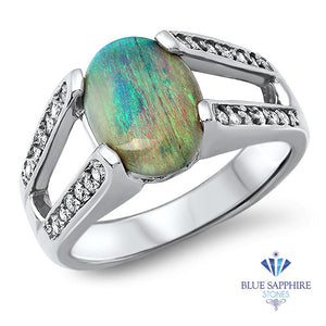 1.65ct Oval Opal Ring with Diamond Accents in 14K White Gold