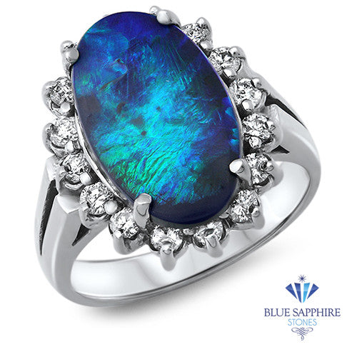 2.86ct Oval Opal Ring with Diamond Halo in 14K White Gold