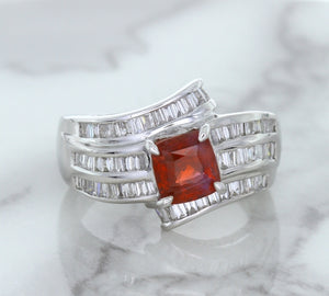 1.80ct Cushion Ruby Ring with Diamond Accents in 18K White Gold