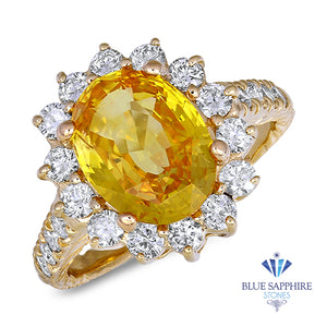 857e6b5c4faffc 4.04ct Oval Yellow Sapphire Ring with Diamond Halo in 14K Yellow Gold –  Blue Sapphire Stones