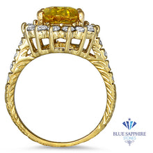 4.04ct Oval Yellow Sapphire Ring with Diamond Halo in 14K Yellow Gold