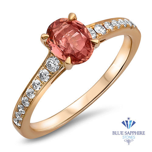 0.80ct Oval Padparadscha Ring with Diamond Accents in 18K Rose Gold