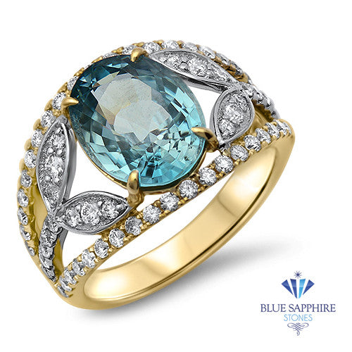 5.29ct Oval Blue Zircon Ring with Diamond Accents in 18K Yellow Gold