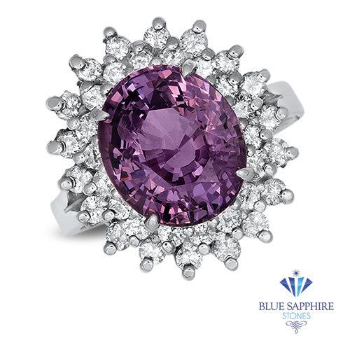 4.67ct Oval Purple Spinel Ring with Double Diamond Halo in 14K White Gold