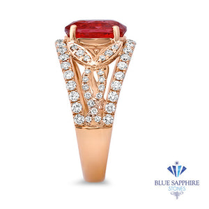 2.31ct Oval Spinel Ring with Diamond Accents in 18K Rose Gold