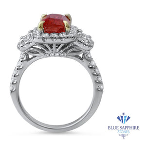 3.04ct Cushion Ruby Ring with Diamond Halo in 18K White Gold