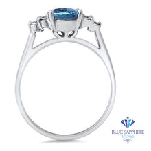 1.61ct Oval Blue Sapphire Ring with Diamond ccents in 14K White Gold