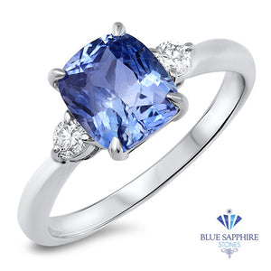 2.33ct Cushion Blue Sapphire Ring with Diamond Accents in 14K White Gold