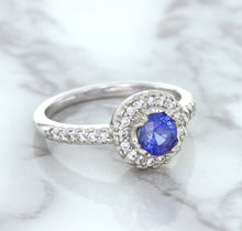 0.91ct Round Blue Sapphire Ring with Diamond Halo in 14K White Gold