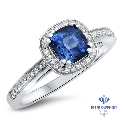 1.36ct Cushion Blue Sapphire Ring with Diamond Halo in 14K White Gold