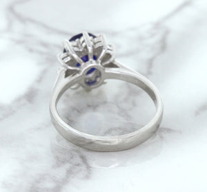 1.42ct Oval Blue Sapphire Ring with Diamond Halo in 14K White Gold