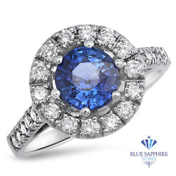 1.46ct Round Blue Sapphire Ring with Diamond Halo in 14K White Gold