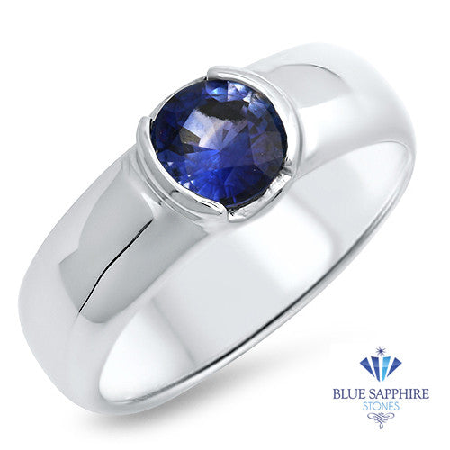 0.94ct Round Blue Sapphire Ring in 14K White Gold