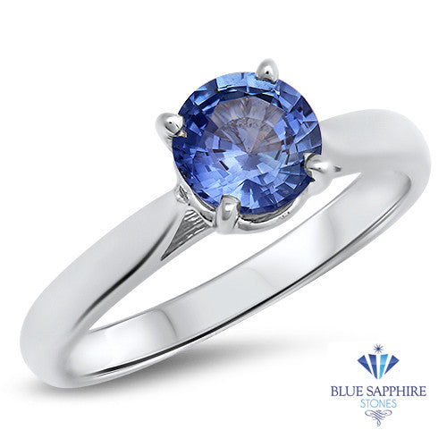 1.20ct Round Blue Sapphire Ring in 14K White Gold