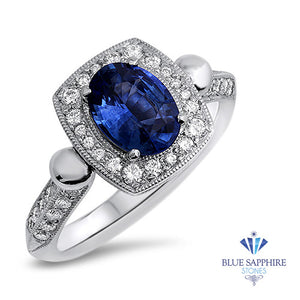 1.56ct Oval Blue Sapphire Ring with Diamond Halo in Platinum