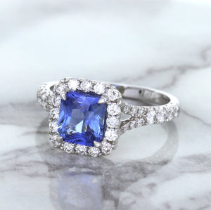 1.74ct Radiant Blue Sapphire Ring with Diamond Halo in 18K White Gold