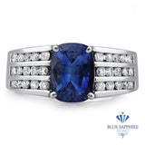 3.22ct Cushion Blue Sapphire Ring with Diamond Accents in 14K White Gold