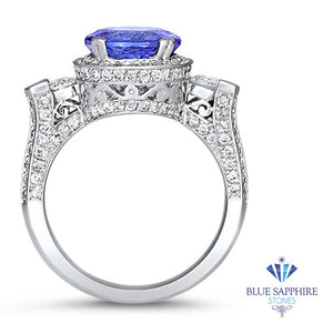3.12ct Round Tanzanite Ring with Diamond Halo in 14K White Gold