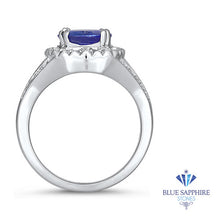3.37ct Oval Tanzanite Ring with Diamond Halo in 14K White Gold