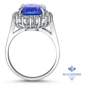 5.45ct Oval Tanzanite Ring with Diamond Halo in 14K White Gold