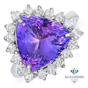 5.06ct Trillion Tanzanite Ring with Diamond Halo in 14K White Gold