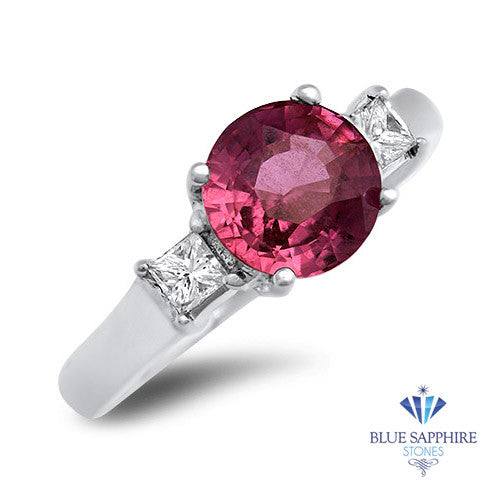 2.26ct Round Pink Sapphire Ring with Diamond Accents in 18K White Gold