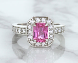 1.56ct Radiant Pink Sapphire Ring with Diamond Halo in 18K White Gold