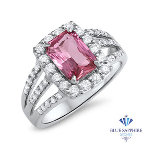 2.25ct Emerald Cut Pink Sapphire Ring with Diamond halo in 18K White Gold
