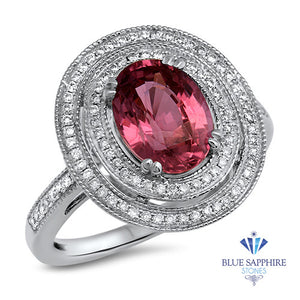 2.90ct Oval Pink Sapphire Ring with Double Diamond Halo in 14K White Gold
