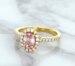 1.14ct Oval Pink Sapphire Ring with Diamond Halo in 18K Rose Gold
