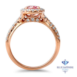 1.25ct Oval Pink Sapphire Ring with Diamond Halo in 18K Rose Gold