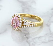 1.91ct Oval Pink Sapphire Ring with Diamond Halo in 18K Rose Gold