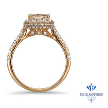 2.02ct Radiant Unheated GIA Certified Peach Sapphire Ring with Diamond Halo in 18K Rose Gold