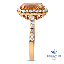 4.61ct Oval Peach Sapphire Ring with Diamond Halo in 18K Rose Gold