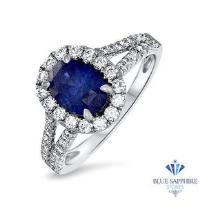 2.05ct Oval Blue Sapphire Ring with Diamond Halo in 18K White Gold