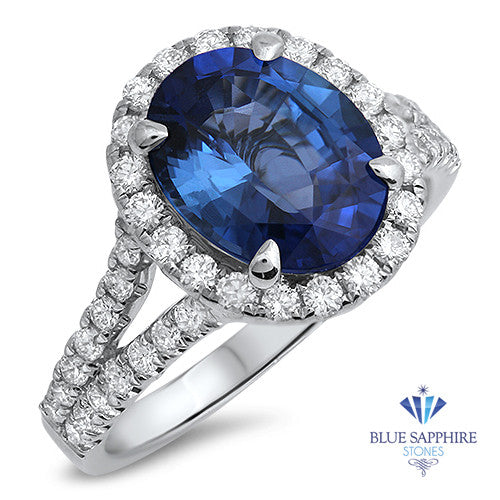 3.55ct Oval Blue Sapphire Ring with Diamond Halo in 18K White Gold