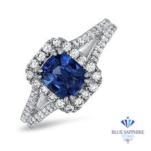 1.43ct Cushion Blue Sapphire Ring with Diamond Halo in 18K White Gold