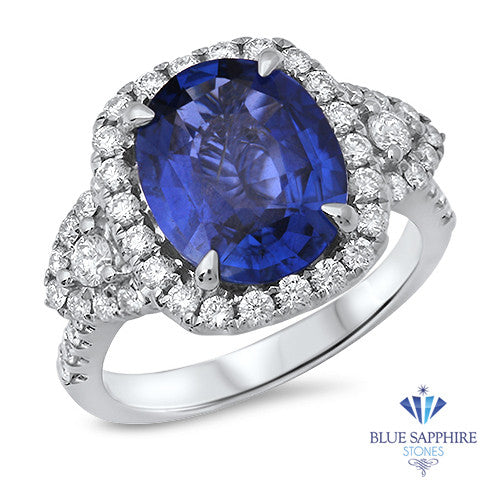 4.19ct Oval Blue Sapphire Ring with Diamond Halo in 18K White Gold