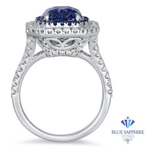 4.33ct Radiant Cut Blue Sapphire Ring with Sapphire and Diamond Halos in 18K White Gold