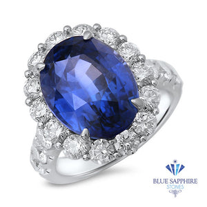 10.48ct Oval Blue Sapphire Ring with Diamond Halo in 18K White Gold