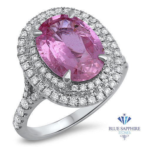 4.27ct Oval Pink Sapphire Ring with Double Diamond Halo in 18K White Gold