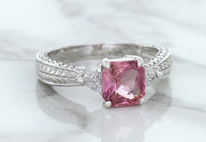 1.80ct Radiant Pink Sapphire Ring with Diamond Accents in 18K White Gold