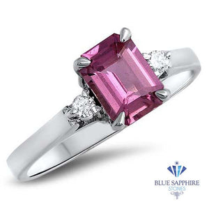 1.21ct Emerald Pink Sapphire Ring with Diamond Accents in 18K White Gold