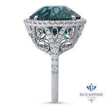 20.07ct Round Tourmaline Ring with Diamond Halo in 18K White Gold