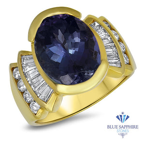 7.85ct Oval Tanzanite Ring with Diamond Accents in 18K Yellow Gold