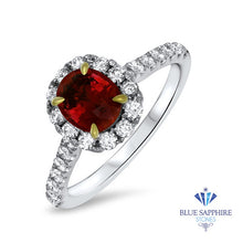 1.23ct Oval Ruby Ring with Diamond Halo in 18K White Gold