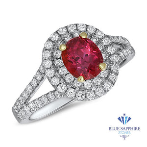 1.49ct Oval Ruby Ring with Double Diamond Halo in 18K White Gold