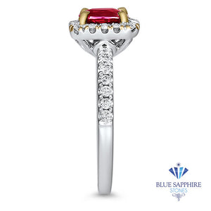 1.11ct Cushion Ruby Ring with Diamond Halo in 18K White Gold