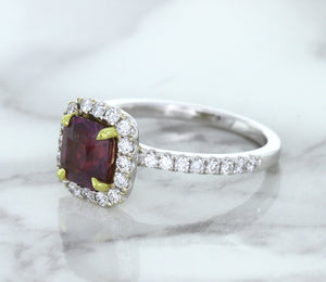 1.60ct Cushion Ruby Ring with Diamond Halo in 18K White Gold