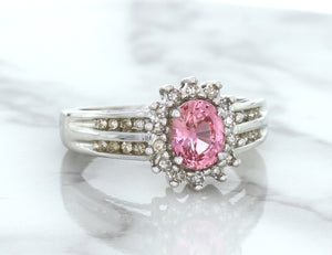1.40ct Oval Pink Sapphire Ring with Diamond Halo in 14K White Gold